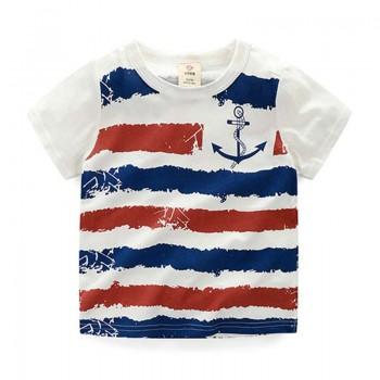 Color Block Stripes Anchor Print Short-sleeve White Tee for Boys