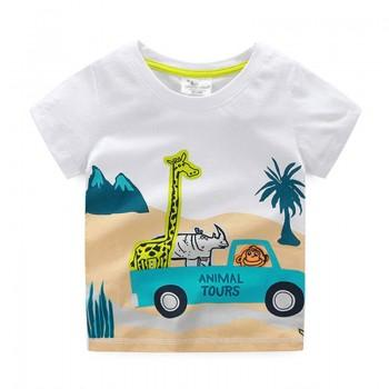 Happy Animal Tours Short-sleeve White Tee for Boys