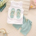 2-piece Slippers Printed Tank and Shorts Set for Baby and Toddler Girls