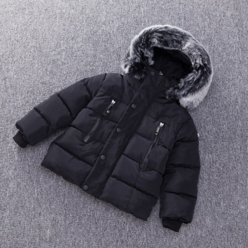Stylish Black Hooded Cotton Coat for Kids