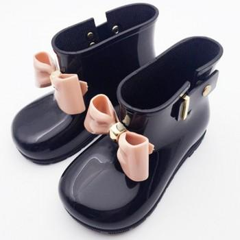 Solid Bow-accented Anti-slip Waterproof Rain Boots for Kids