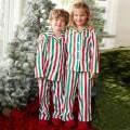 Red and Green Contrast Long-sleeve Shirt and Pants Pajamas Set Family Matching