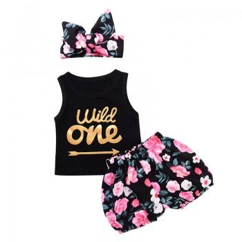3-piece 'LITTLE ONE' Printed Tank, Floral Shorts and Headband Set for Baby Girls