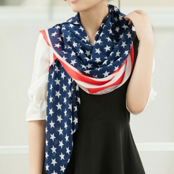USA Chiffon Scarf for Women 4th of July