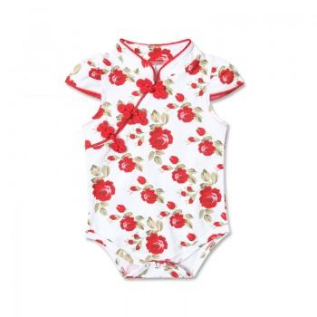 Beautiful Floral Cheongsam Bodysuit for Baby Girls