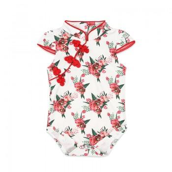 Elegant Floral Cheongsam Bodysuit in White for Baby Girls