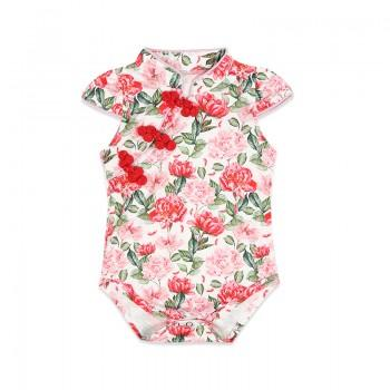 Elegant Floral Cheongsam Bodysuit in Pink for Baby Girl