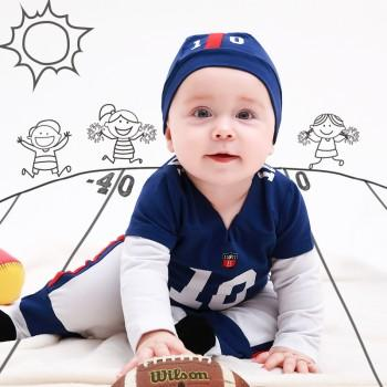 Handsome Rugby Player Costume Jumpsuit with Hat for Baby and Toddler