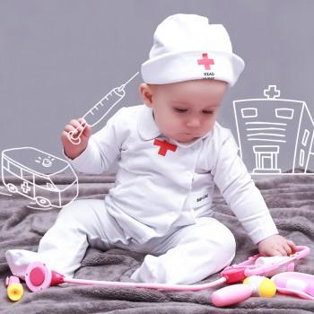 Cute Nurse Costume White Jumpsuit with Hat for Baby and Toddler