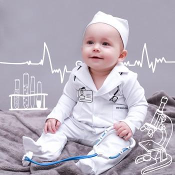 Handsome Doctor Costume Jumpsuit with Hat for Baby and Toddler