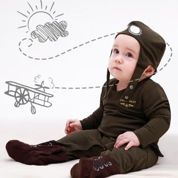 Handsome Pilot Costume Jumpsuit with Hat for Baby and Toddler