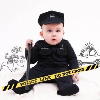 Handsome Police Costume Dark Blue Jumpsuit with Hat for Baby and Toddler