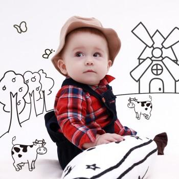 Handsome Farmer Costume Plaid Romper for Baby and Toddler