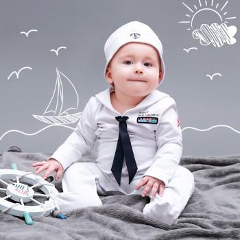 Handsome Sailor Costume Jumpsuit with Hat for Baby and Toddler