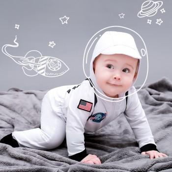 Handsome Astronaut Costume Hooded Jumpsuit with a Hat Set for Baby and Kids