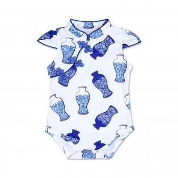 Chic Blue and White Porcelain Pattern Cheongsam Romper for Baby Girl