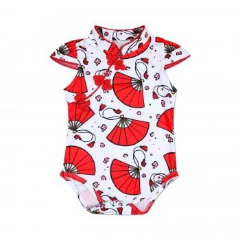 Chic Fan Floral Pattern Vintage Cheongsam Romper for Baby Girl