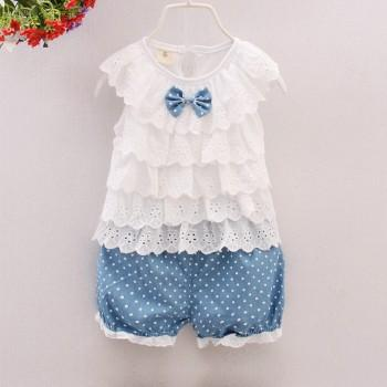 Sweet Ruffle Design Bow Decor Top and Dotted Pants Set for Baby Girl