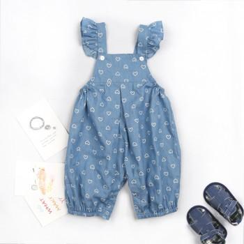 Sweet Love Print Flutter Sleeves Jumpsuit for Baby Girl