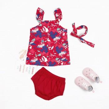 Pretty Floral Print Top, Red Shorts and Headband Set for Baby Girl