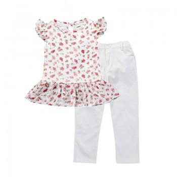 Pretty Floral Peplum Ruffled Cap-sleeve T-shirt and Pants Set in White for Toddler Girl and Girl