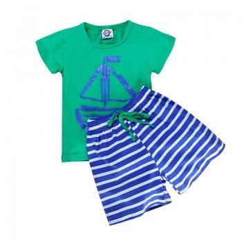 Stylish Ship Print Short-sleeve T-shirt and Striped Shorts Set in Green for Baby and Toddler Boy