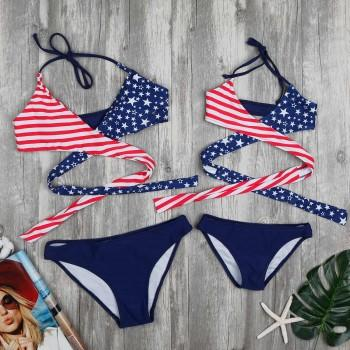 Mom and Me 2-piece Striped Patriotic American Flag Wrap Bikini Set