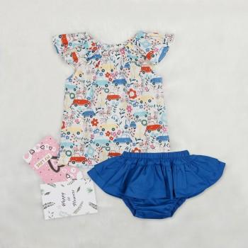 2-piece Flutter Sleeves Floral Top and Ruffled Pantie for Baby Girl