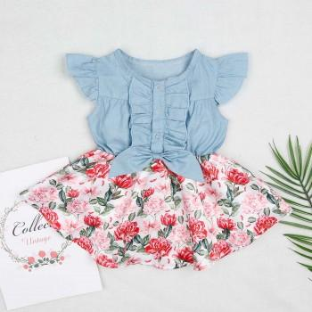 Baby Girl's Floral Flutter-sleeve Ruffled Denim Dress Bodysuit