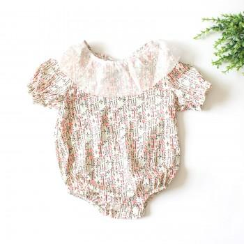 Baby Girl's Chic Puff Sleeves Floral Romper