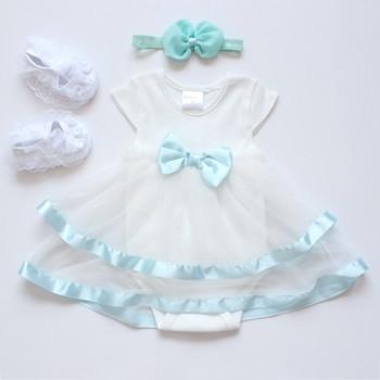 3-piece Tulle Bodysuit Bow Headband and Lace Shoes for Baby Girl