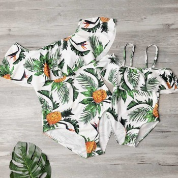 One-piece Mom and Me Gorgeous Pineapple Printed Ruffles Swimsuit
