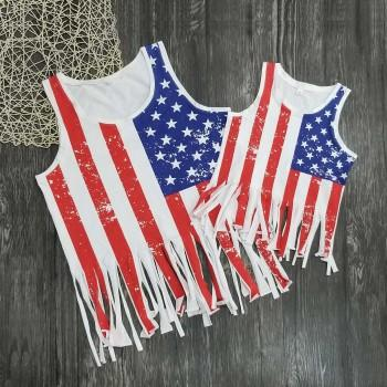 Mommy and Me Stylish Nation Flag Printed Tassel Bikini Cover-ups
