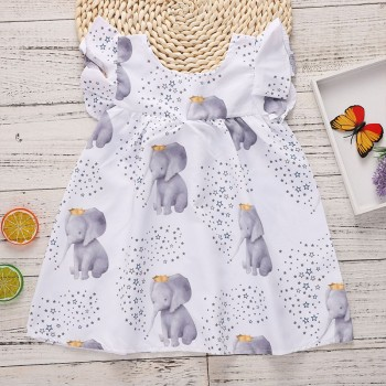 Lovely Elephant Print Flounce-sleeve Dress for Baby Girl