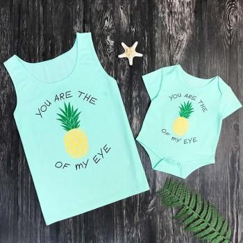 Mommy and Me Lovely Letter Pineapple Printed Tank in Light Green
