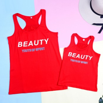 Mommy and Me 'BEAUTY' Tank Top in Red