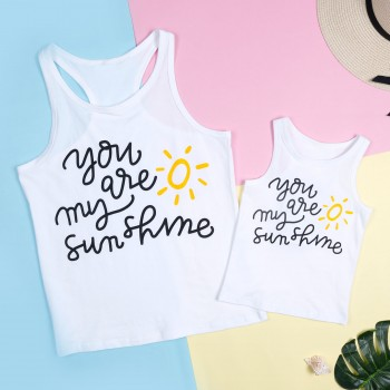 Mommy and Me Lovely Sun Printed Sleeveless Tank in White