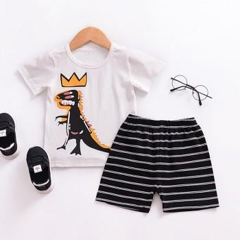 Cool Dinosaur Print Short-sleeve T-shirt and Striped Shorts for Baby Boy and Boy
