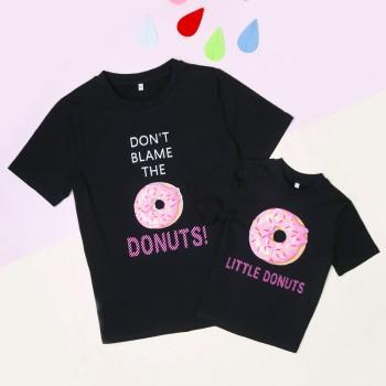 Mommy and Me Sweet DONUTS Printed Cotton T-shirt in Black
