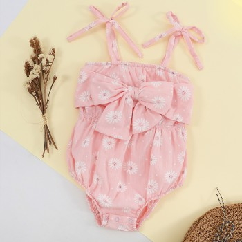 Cute Daisy Print Slip Romper with Bowknot Decor for Baby and Toddler Girls