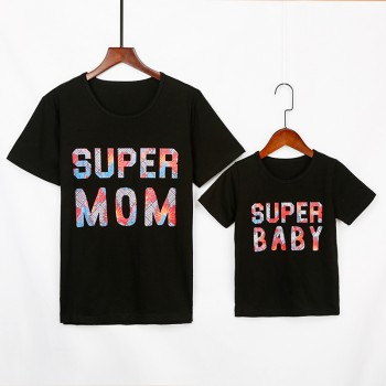 'SUPER MOM' and 'SUPER BABY' Printed Short-sleeves T-shirt in Black for Mommy and Me
