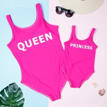 'QUEEN' and 'PRINCESS' Printed One-piece Swimsuit in Hot Pink