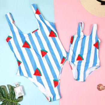 Fresh Striped Watermelon Print Swimsuit for Mom and Me
