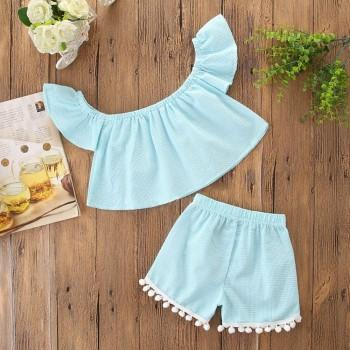 Lovely Off-shoulder Short-sleeve Top and Shorts Set for Baby and Toddler Girl