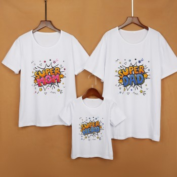Super Family Short Sleeves Matching Top in White