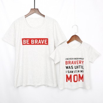 Mommy and Me Letter Printed Short Sleeves Top in White