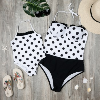 Mommy and Me Polka Dots Halter Matching Swimsuit