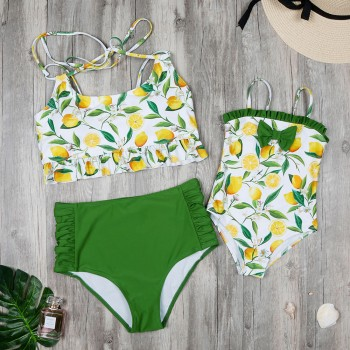 Mommy and Me Lemon Printed Matching Swimsuit