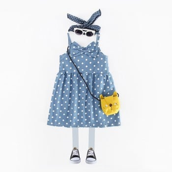 Lovely Polka Dots Sleeveless Denim Dress for Girls