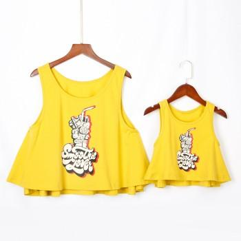 Mommy and Me Flounce Letter Printed Matching Tank Top